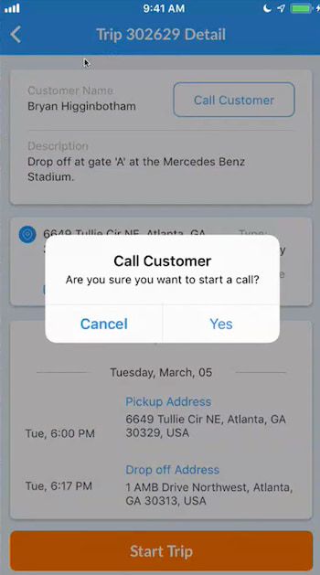 a driver's option to call the customer through the CoachRail app