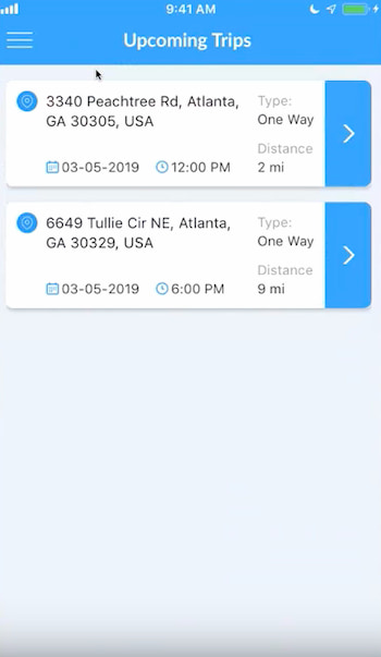 a list of a driver's upcoming trips, as seen in the CoachRail app